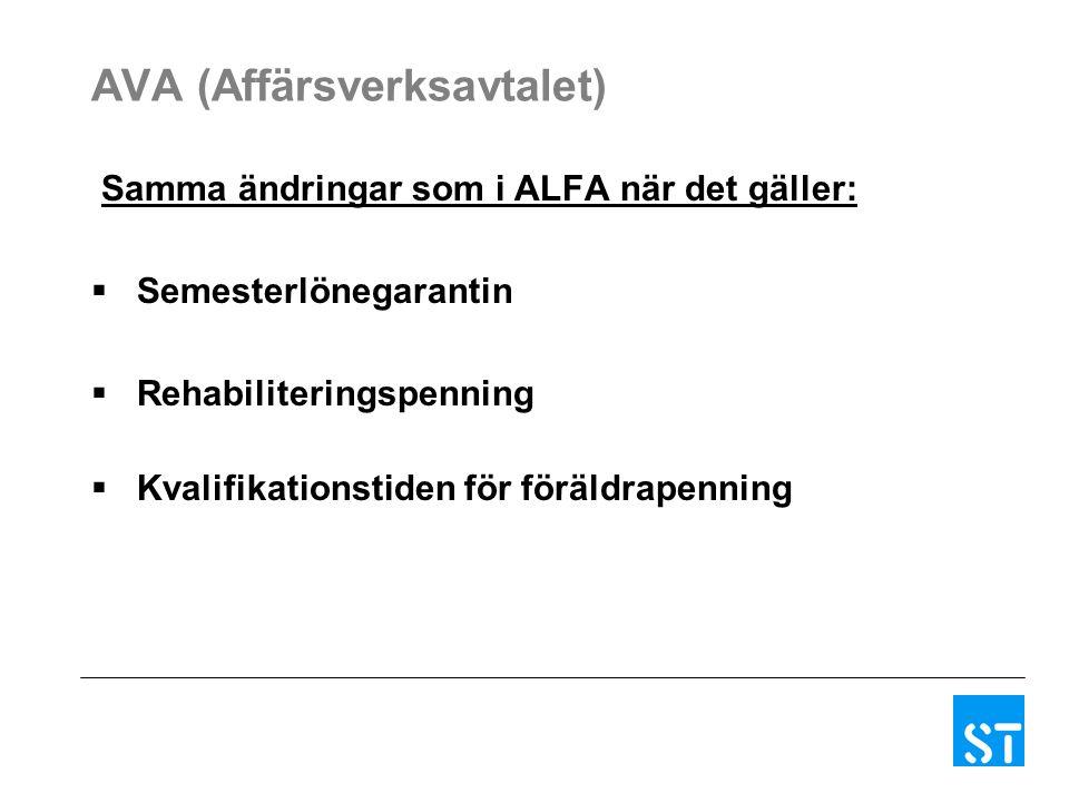 AVA (Affärsverksavtalet) Samma ändringar som i ALFA när det gäller:  Semesterlönegarantin  Rehabiliteringspenning  Kvalifikationstiden för föräldrapenning