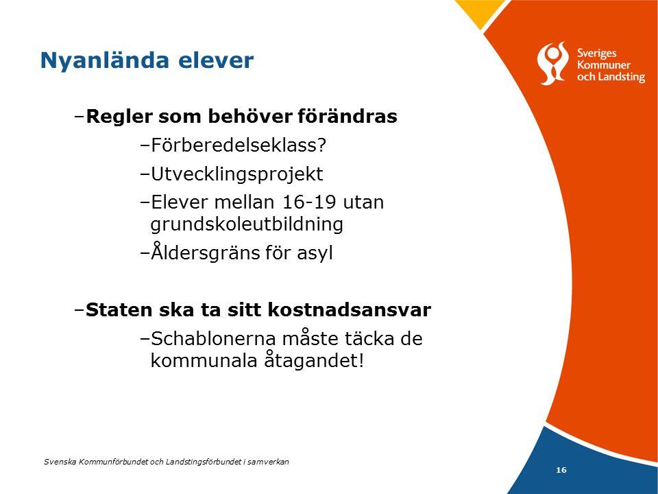 Svenska Kommunförbundet och Landstingsförbundet i samverkan 16 Nyanlända elever –Regler som behöver förändras –Förberedelseklass? –Utvecklingsprojekt