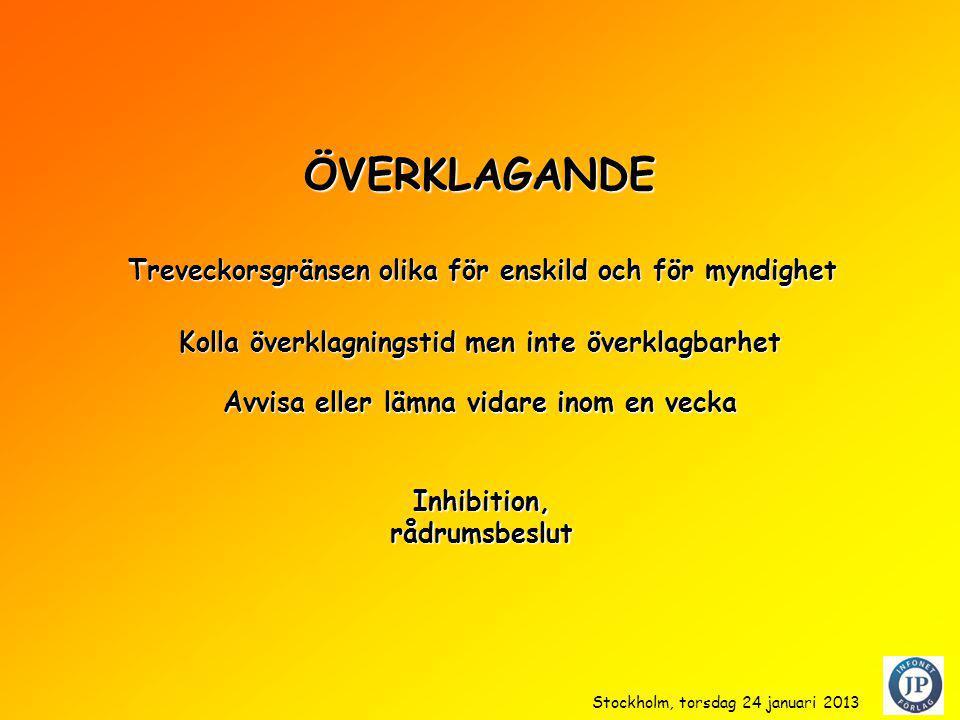 ÖVERKLAGANDE Kolla överklagningstid men inte överklagbarhet Inhibition,rådrumsbeslut Treveckorsgränsen olika för enskild och för myndighet Avvisa eller lämna vidare inom en vecka Stockholm, torsdag 24 januari 2013