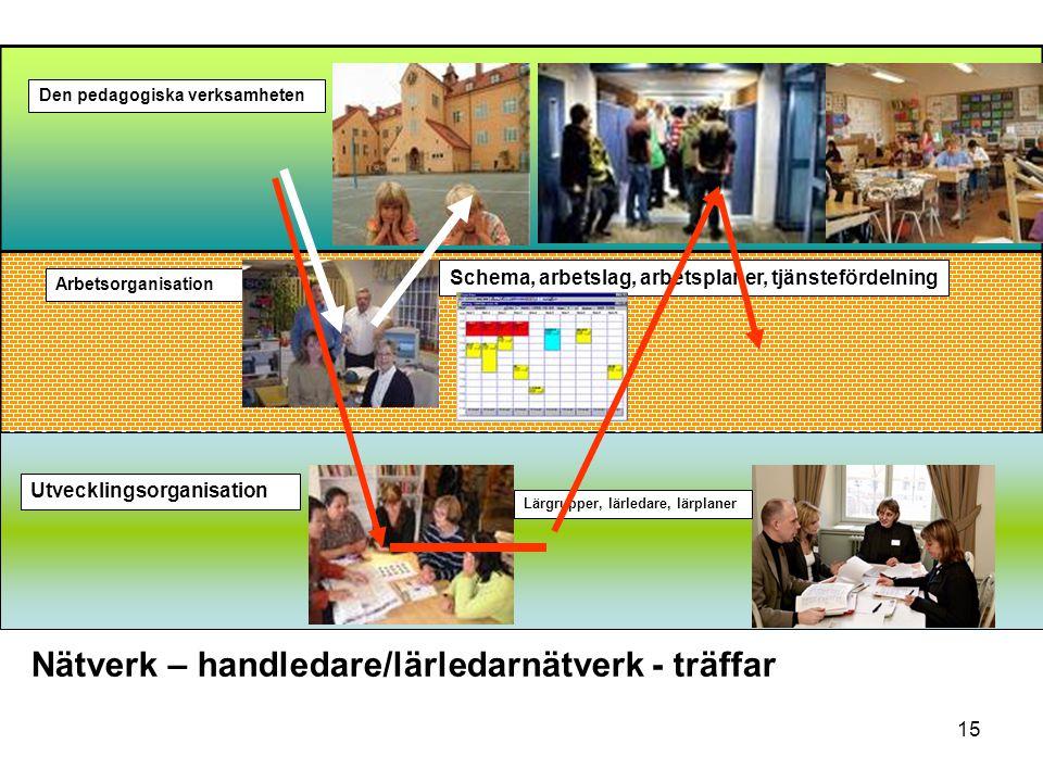 15 Den pedagogiska verksamheten Arbetsorganisation Schema, arbetslag, arbetsplaner, tjänstefördelning Utvecklingsorganisation Lärgrupper, lärledare, lärplaner Nätverk – handledare/lärledarnätverk - träffar