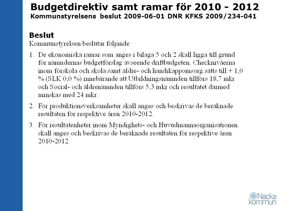 Budgetdirektiv samt ramar för 2010 - 2012 Kommunstyrelsens beslut 2009-06-01 DNR KFKS 2009/234-041