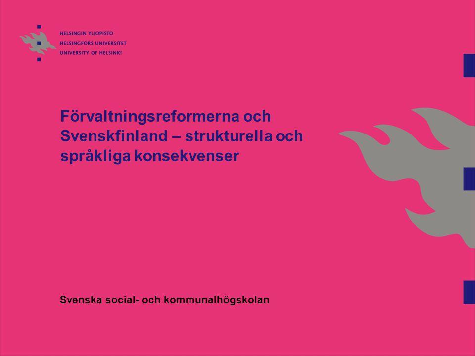 SpråKon – Förvaltningslösningars språkliga konsekvenser Samarbetsprojekt SSKH Åbo Akademi i Åbo och Vasa Särprojekt Del av utvärderingsprogrammet för kommun och servicestrukturreformen (Paras-ARTTU) Två faser Fas I: De regionala reformernas språkliga konsekvenser (2008-2009) Strukturreformens språkliga konsekvenser (2009-2012) Utvärderande men också starkt framtidsinriktat projekt Nätverk och debatt
