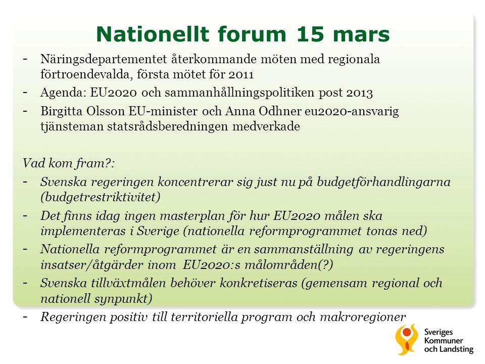 Nationellt forum 15 mars - Näringsdepartementet återkommande möten med regionala förtroendevalda, första mötet för 2011 - Agenda: EU2020 och sammanhållningspolitiken post 2013 - Birgitta Olsson EU-minister och Anna Odhner eu2020-ansvarig tjänsteman statsrådsberedningen medverkade Vad kom fram : - Svenska regeringen koncentrerar sig just nu på budgetförhandlingarna (budgetrestriktivitet) - Det finns idag ingen masterplan för hur EU2020 målen ska implementeras i Sverige (nationella reformprogrammet tonas ned) - Nationella reformprogrammet är en sammanställning av regeringens insatser/åtgärder inom EU2020:s målområden( ) - Svenska tillväxtmålen behöver konkretiseras (gemensam regional och nationell synpunkt) - Regeringen positiv till territoriella program och makroregioner