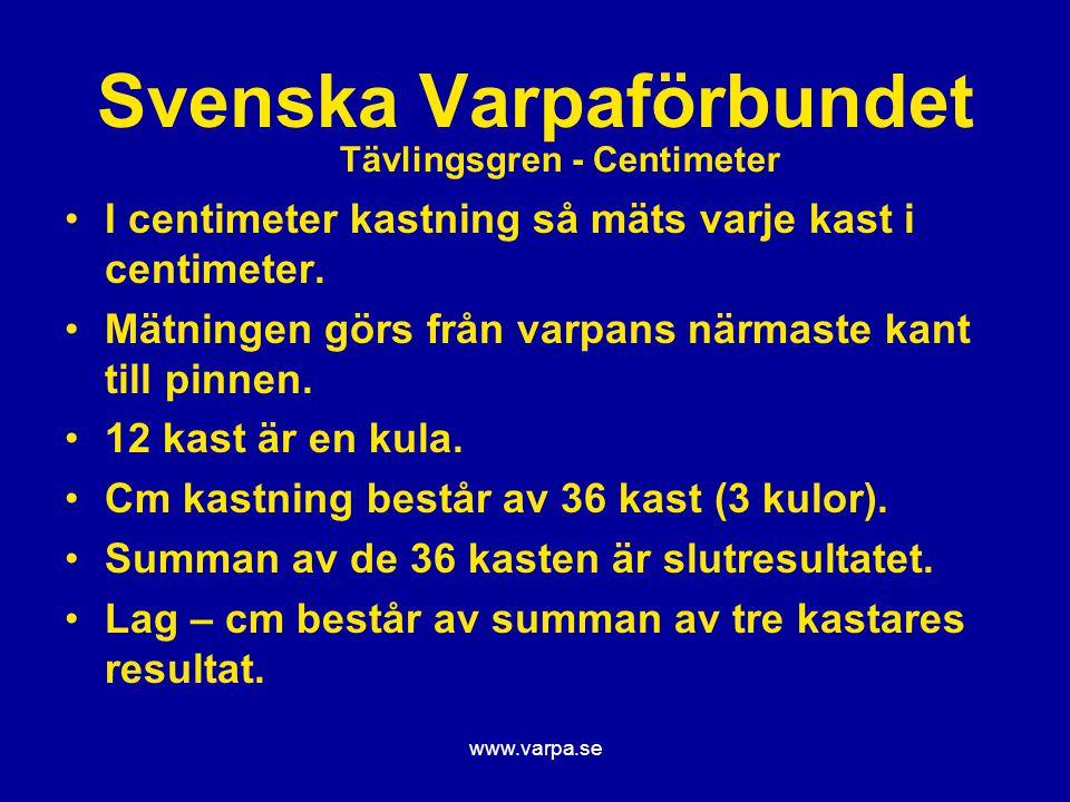 www.varpa.se Svenska Varpaförbundet I centimeter kastning så mäts varje kast i centimeter. Mätningen görs från varpans närmaste kant till pinnen. 12 k