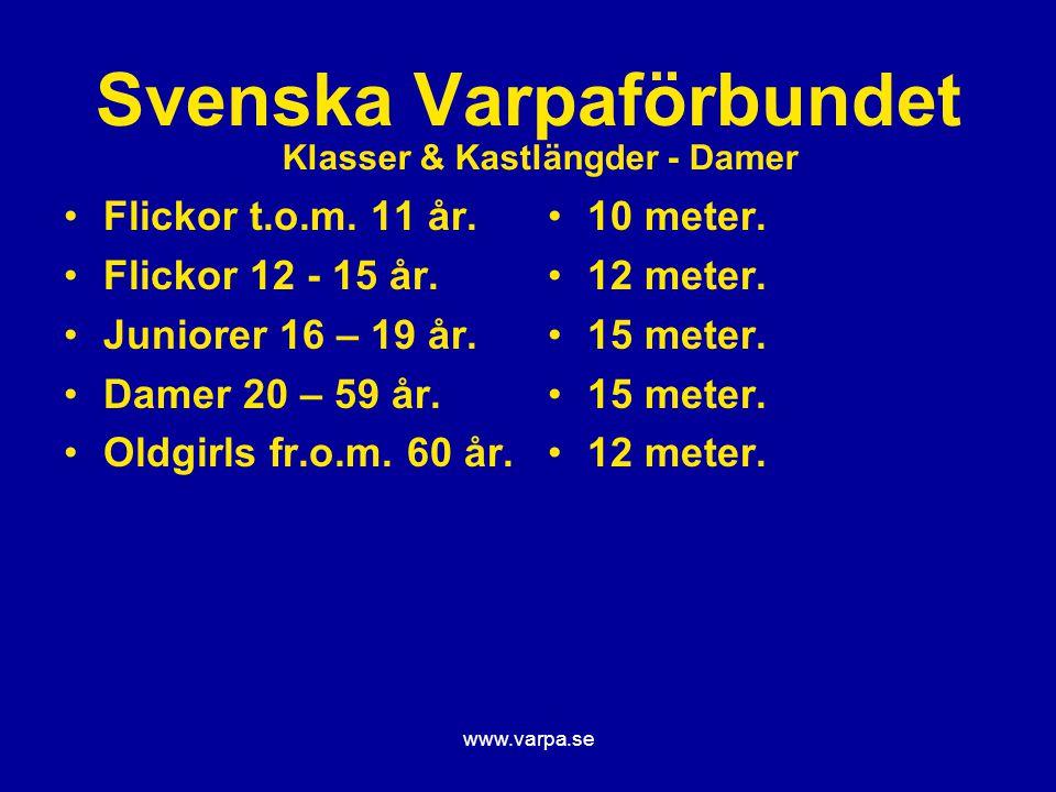www.varpa.se Svenska Varpaförbundet Flickor t.o.m. 11 år. Flickor 12 - 15 år. Juniorer 16 – 19 år. Damer 20 – 59 år. Oldgirls fr.o.m. 60 år. 10 meter.