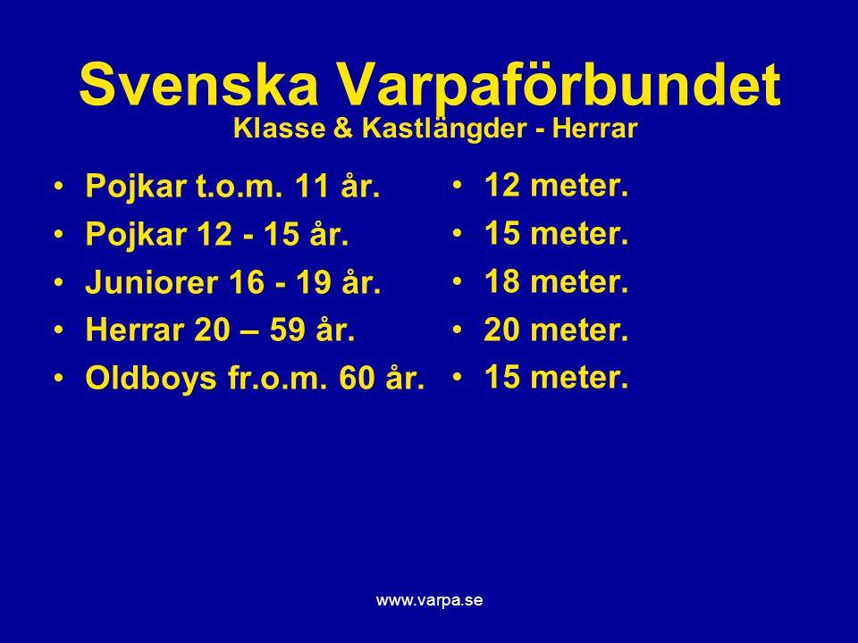 www.varpa.se Svenska Varpaförbundet Pojkar t.o.m. 11 år. Pojkar 12 - 15 år. Juniorer 16 - 19 år. Herrar 20 – 59 år. Oldboys fr.o.m. 60 år. 12 meter. 1