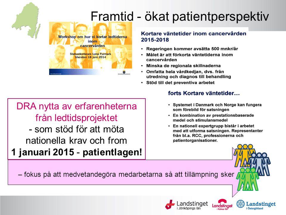 Framtid - ökat patientperspektiv – fokus på att medvetandegöra medarbetarna så att tillämpning sker DRA nytta av erfarenheterna från ledtidsprojektet - som stöd för att möta nationella krav och from 1 januari 2015 - patientlagen!