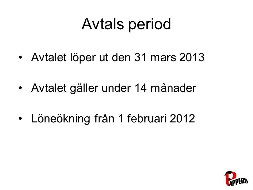 Avtals period Avtalet löper ut den 31 mars 2013 Avtalet gäller under 14 månader Löneökning från 1 februari 2012
