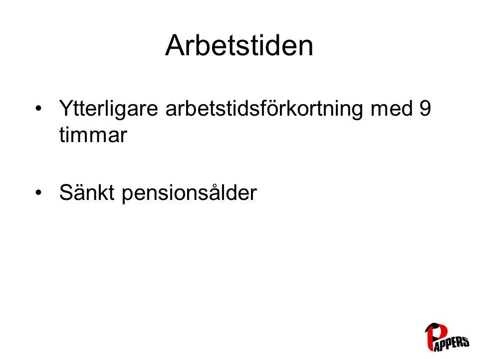 Arbetstiden Ytterligare arbetstidsförkortning med 9 timmar Sänkt pensionsålder