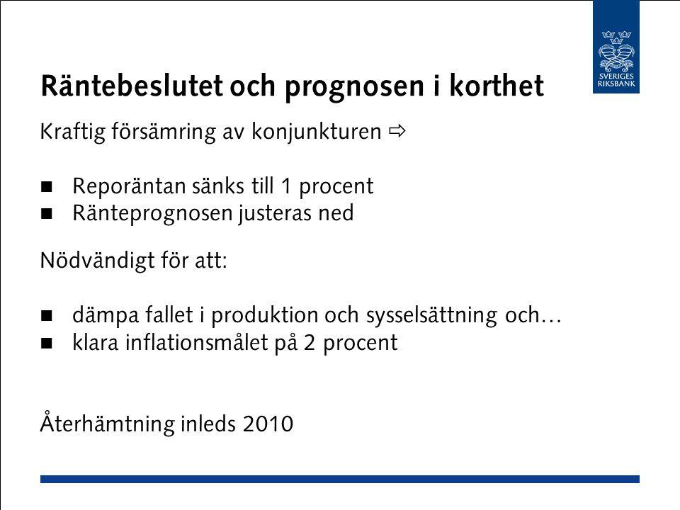 Räntebeslutet och prognosen i korthet Kraftig försämring av konjunkturen  Reporäntan sänks till 1 procent Ränteprognosen justeras ned Nödvändigt för att: dämpa fallet i produktion och sysselsättning och… klara inflationsmålet på 2 procent Återhämtning inleds 2010