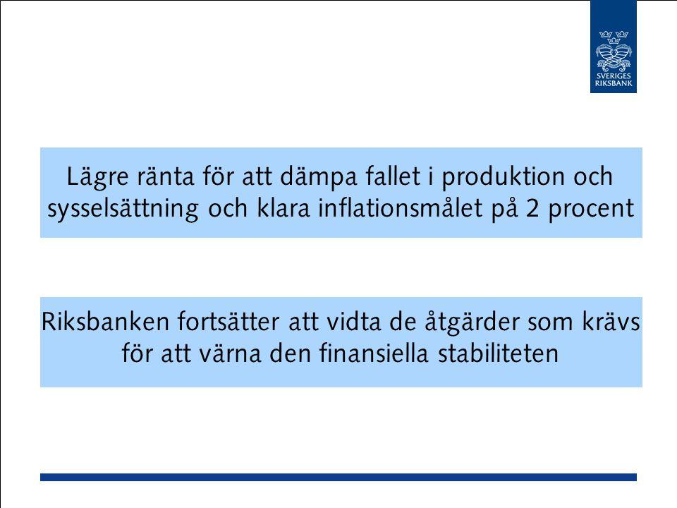 Lägre ränta för att dämpa fallet i produktion och sysselsättning och klara inflationsmålet på 2 procent Riksbanken fortsätter att vidta de åtgärder som krävs för att värna den finansiella stabiliteten