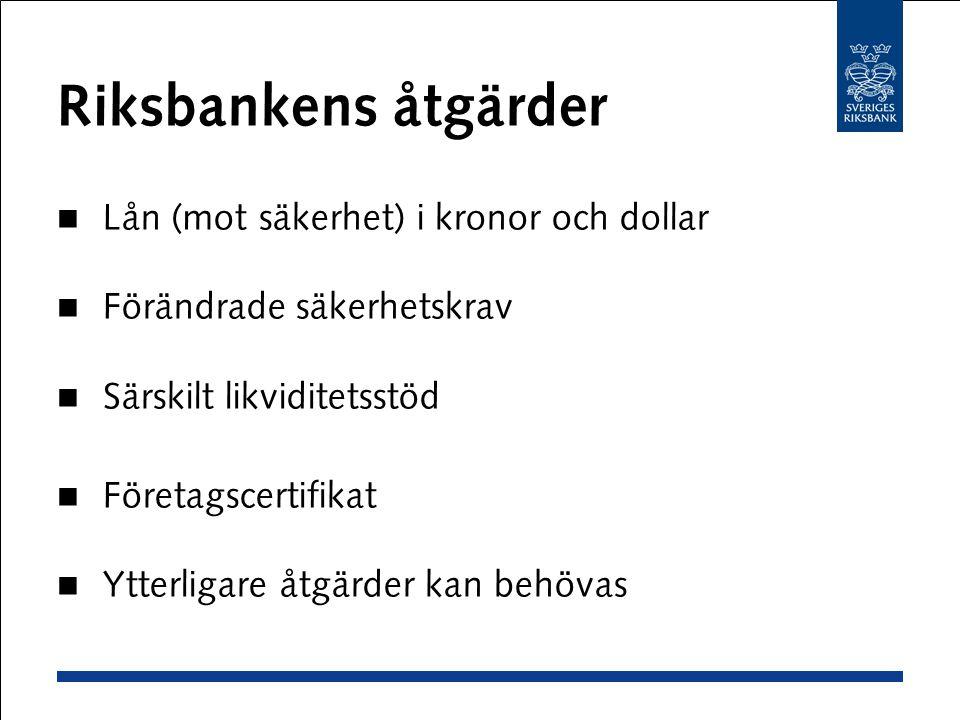 Riksbankens åtgärder Lån (mot säkerhet) i kronor och dollar Förändrade säkerhetskrav Särskilt likviditetsstöd Företagscertifikat Ytterligare åtgärder kan behövas