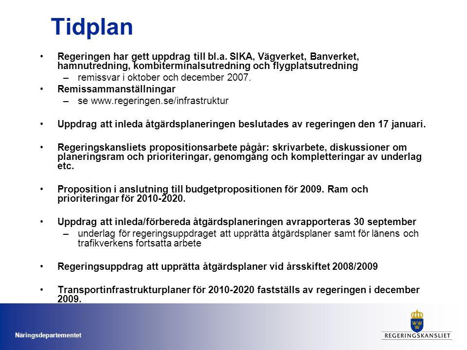 Näringsdepartementet Tidplan Regeringen har gett uppdrag till bl.a. SIKA, Vägverket, Banverket, hamnutredning, kombiterminalsutredning och flygplatsut