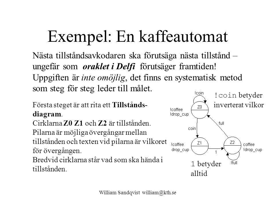 William Sandqvist william@kth.se Exempel: En kaffeautomat Nästa tillståndsavkodaren ska förutsäga nästa tillstånd – ungefär som oraklet i Delfi föruts