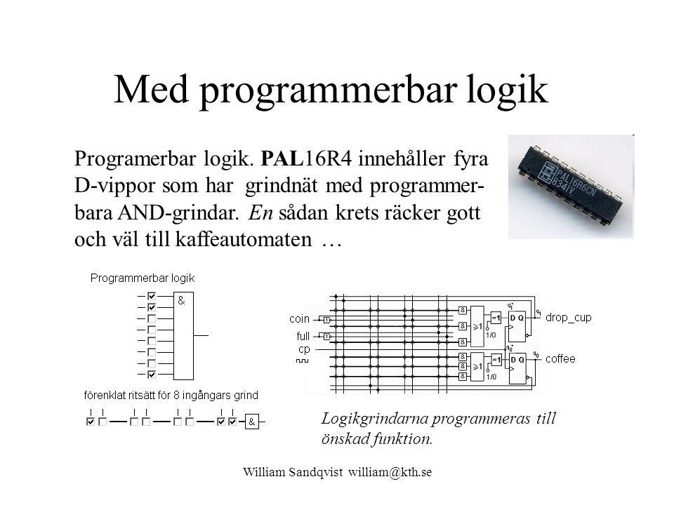 William Sandqvist william@kth.se Med programmerbar logik Programerbar logik. PAL16R4 innehåller fyra D-vippor som har grindnät med programmer- bara AN