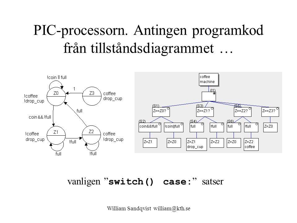 """William Sandqvist william@kth.se PIC-processorn. Antingen programkod från tillståndsdiagrammet … vanligen """" switch() case: """" satser"""