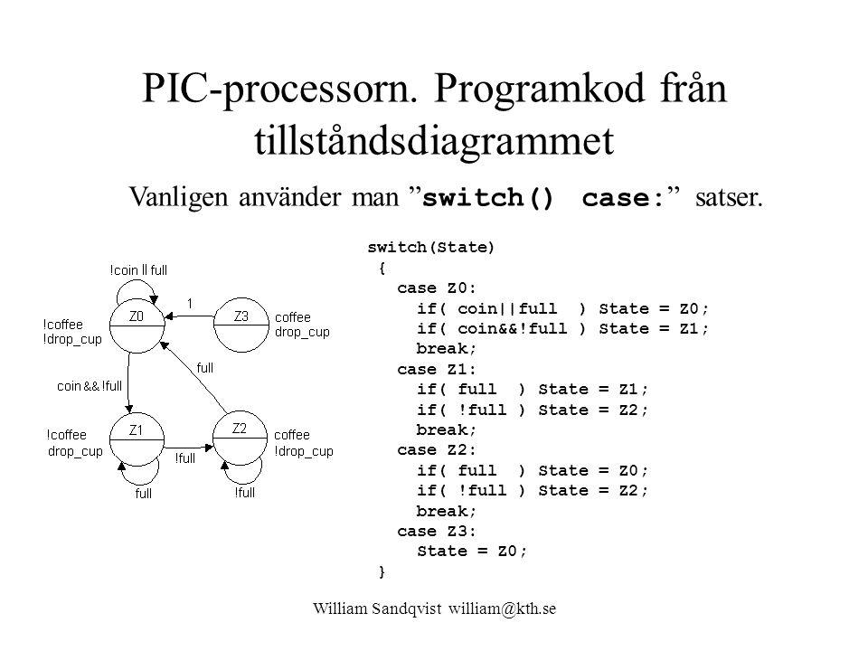"""William Sandqvist william@kth.se PIC-processorn. Programkod från tillståndsdiagrammet Vanligen använder man """" switch() case: """" satser. switch(State) {"""