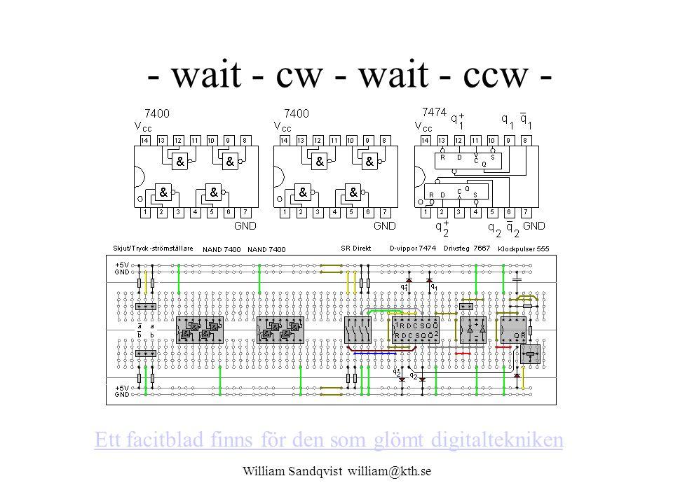 William Sandqvist william@kth.se - wait - cw - wait - ccw - Ett facitblad finns för den som glömt digitaltekniken