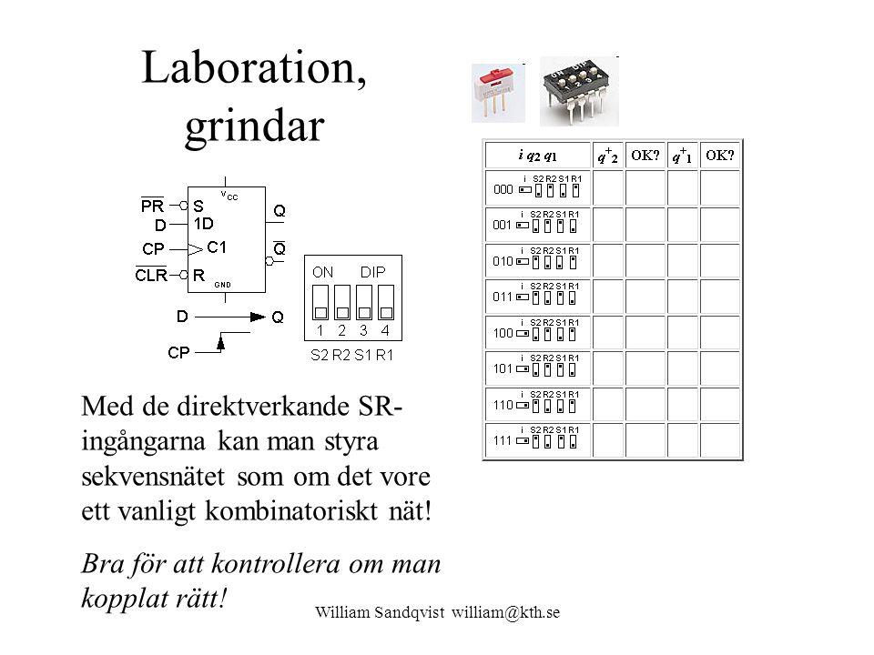 William Sandqvist william@kth.se Laboration, grindar Med de direktverkande SR- ingångarna kan man styra sekvensnätet som om det vore ett vanligt kombi