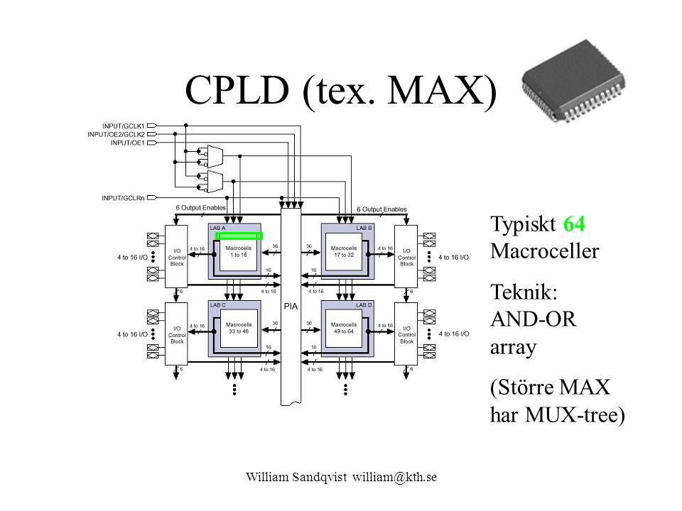CPLD (tex. MAX) Typiskt 64 Macroceller Teknik: AND-OR array (Större MAX har MUX-tree) William Sandqvist william@kth.se