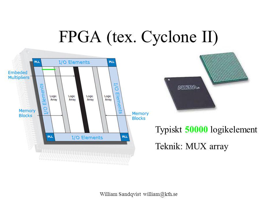 Typiskt 50000 logikelement Teknik: MUX array FPGA (tex. Cyclone II) William Sandqvist william@kth.se