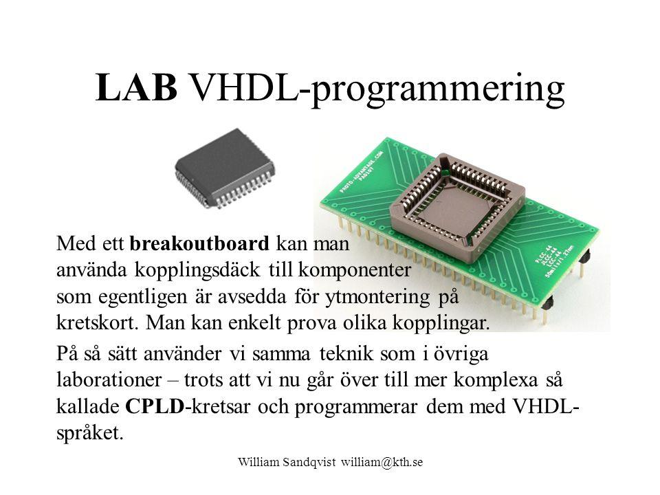 LAB VHDL-programmering William Sandqvist william@kth.se Med ett breakoutboard kan man använda kopplingsdäck till komponenter som egentligen är avsedda
