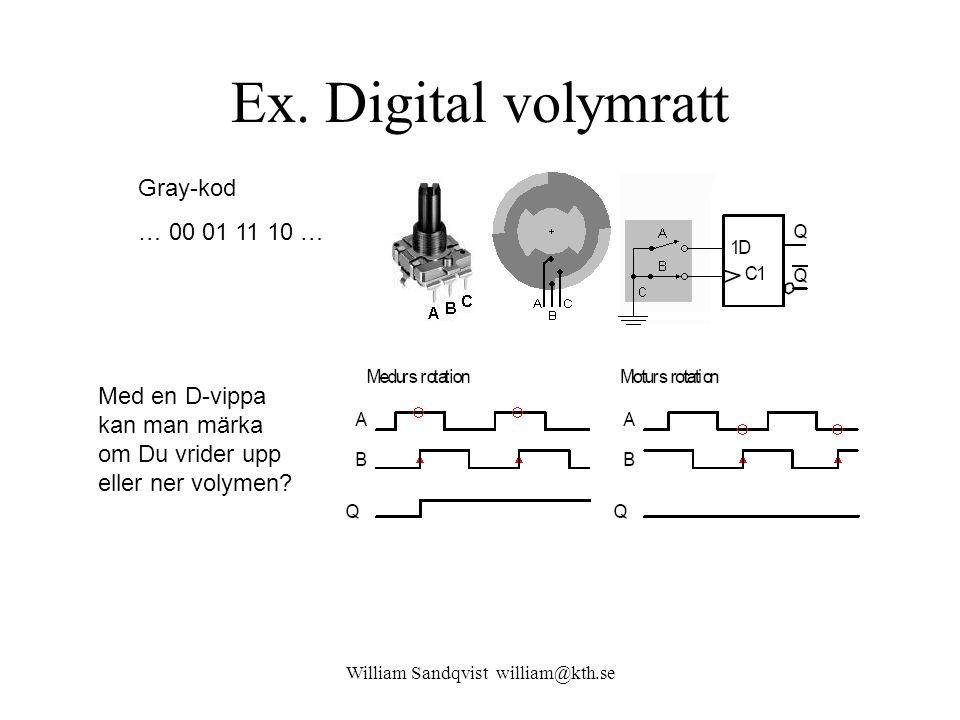 William Sandqvist william@kth.se Med en D-vippa kan man märka om Du vrider upp eller ner volymen? Gray-kod … 00 01 11 10 … Ex. Digital volymratt