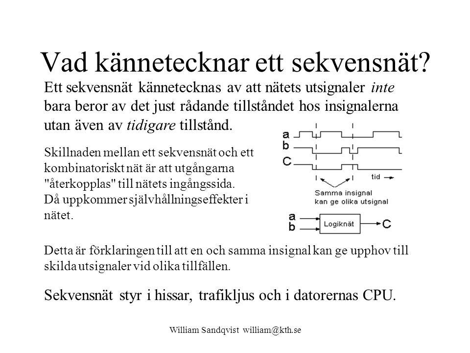 William Sandqvist william@kth.se Från tabell till grindnät Tabellen kan splittras upp i två Karnaughdiagram, ett för q l + = f ( q l q 0, i l i 0 ) och ett för q 0 + = f ( q l q 0, i l i 0 ).