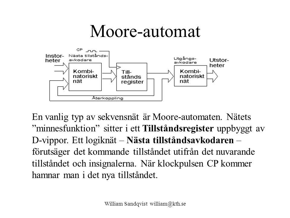 """William Sandqvist william@kth.se Moore-automat En vanlig typ av sekvensnät är Moore-automaten. Nätets """"minnesfunktion"""" sitter i ett Tillståndsregister"""