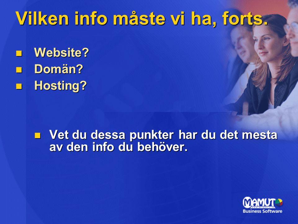 Vilken info måste vi ha, forts.Website. Website. Domän.