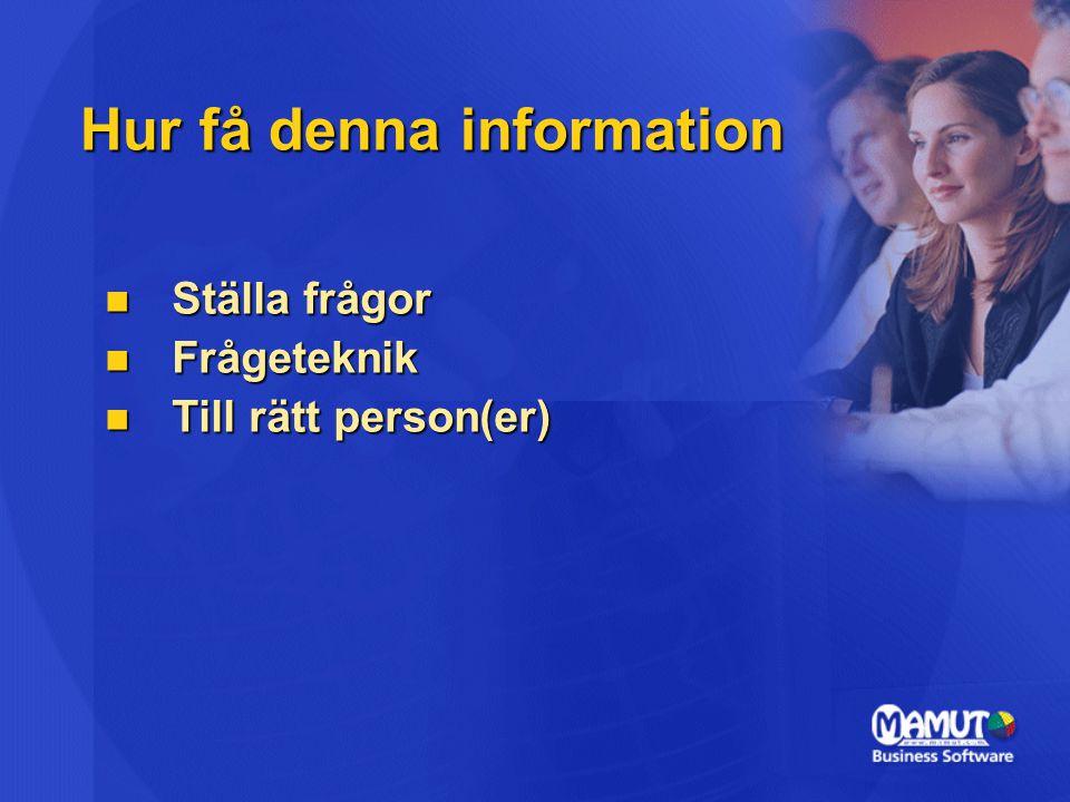 Hur få denna information Ställa frågor Ställa frågor Frågeteknik Frågeteknik Till rätt person(er) Till rätt person(er)