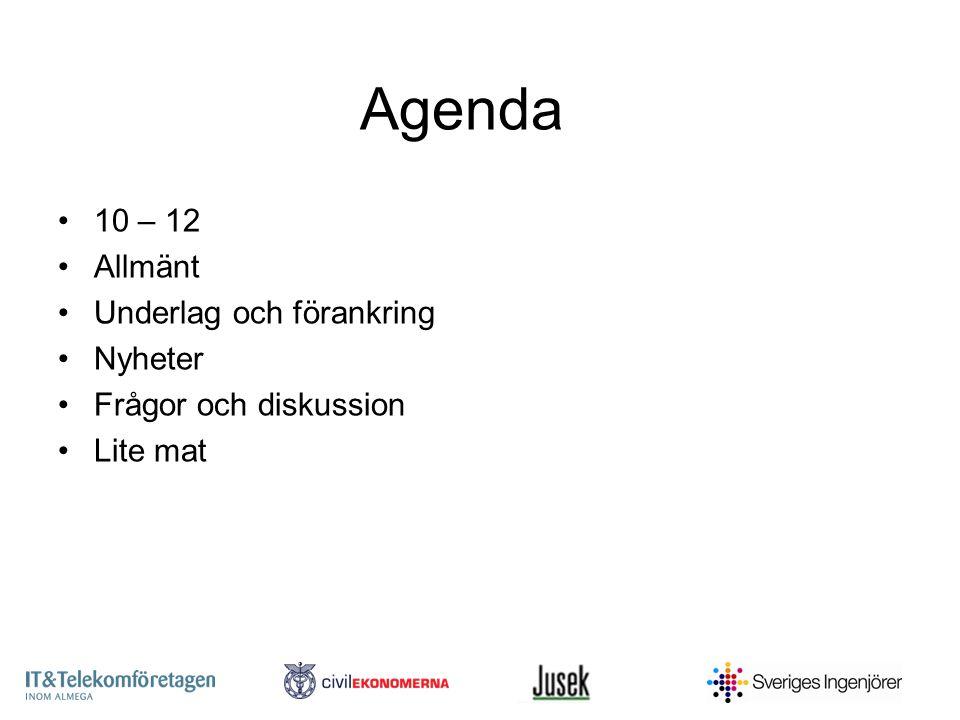 Agenda 10 – 12 Allmänt Underlag och förankring Nyheter Frågor och diskussion Lite mat