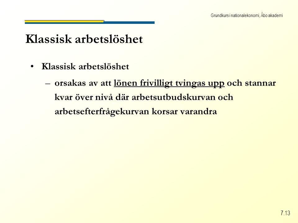 Grundkurs i nationalekonomi, Åbo akademi 7.13 Klassisk arbetslöshet –orsakas av att lönen frivilligt tvingas upp och stannar kvar över nivå där arbetsutbudskurvan och arbetsefterfrågekurvan korsar varandra