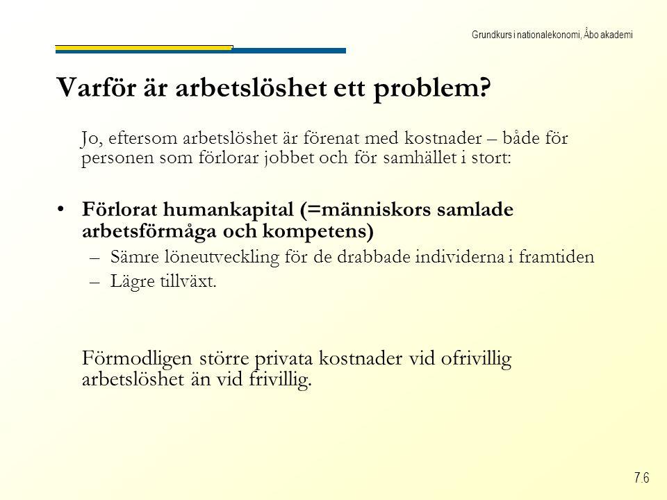 Grundkurs i nationalekonomi, Åbo akademi 7.6 Varför är arbetslöshet ett problem.