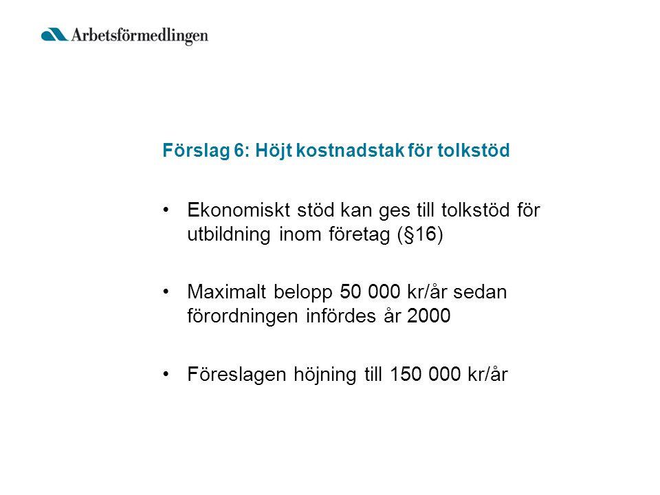 Förslag 6: Höjt kostnadstak för tolkstöd Ekonomiskt stöd kan ges till tolkstöd för utbildning inom företag (§16) Maximalt belopp 50 000 kr/år sedan fö