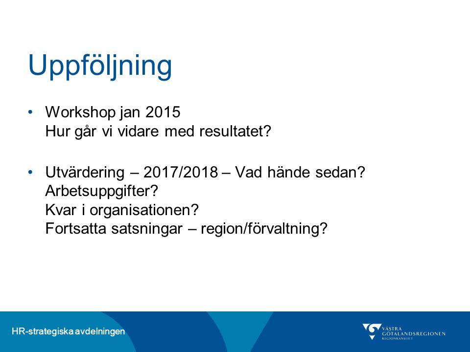HR-strategiska avdelningen Uppföljning Workshop jan 2015 Hur går vi vidare med resultatet? Utvärdering – 2017/2018 – Vad hände sedan? Arbetsuppgifter?