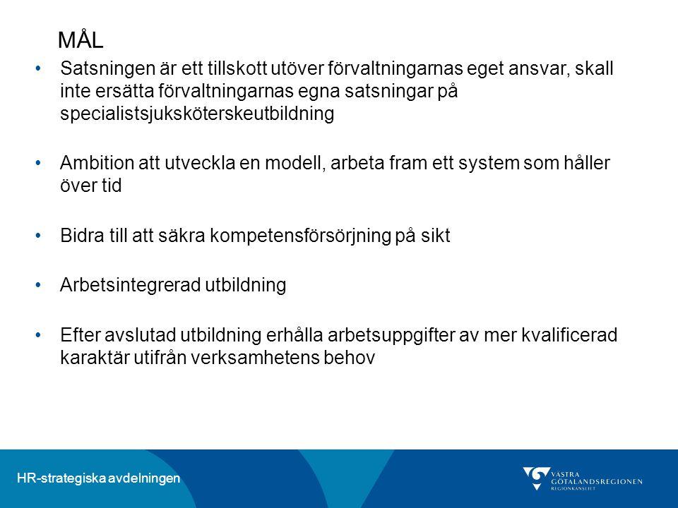HR-strategiska avdelningen Antal utbildningsbefattningar HT 2014 fördelat på inriktning och förvaltning AnställningarAntal Utb.befattmed start ht 2013 Antal avhopp för Utb.