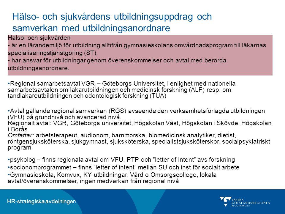 HR-strategiska avdelningen Hälso- och sjukvårdens utbildningsuppdrag och samverkan med utbildningsanordnare Regional samarbetsavtal VGR – Göteborgs Un