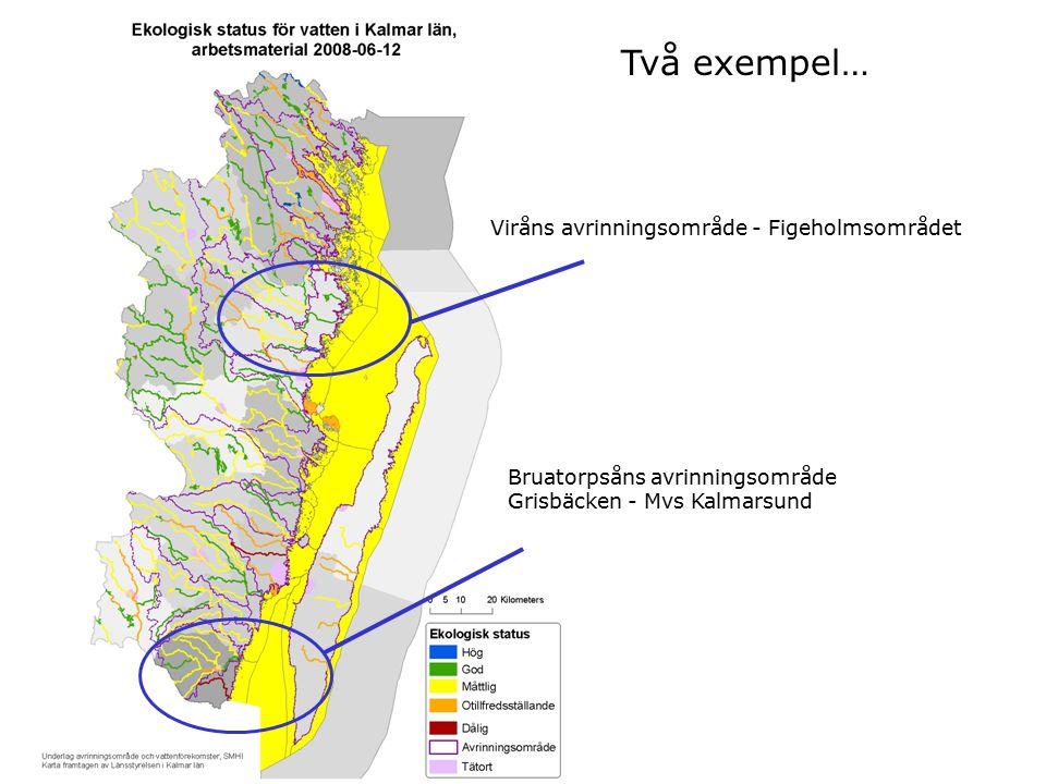 Två exempel… Viråns avrinningsområde - Figeholmsområdet Bruatorpsåns avrinningsområde Grisbäcken - Mvs Kalmarsund