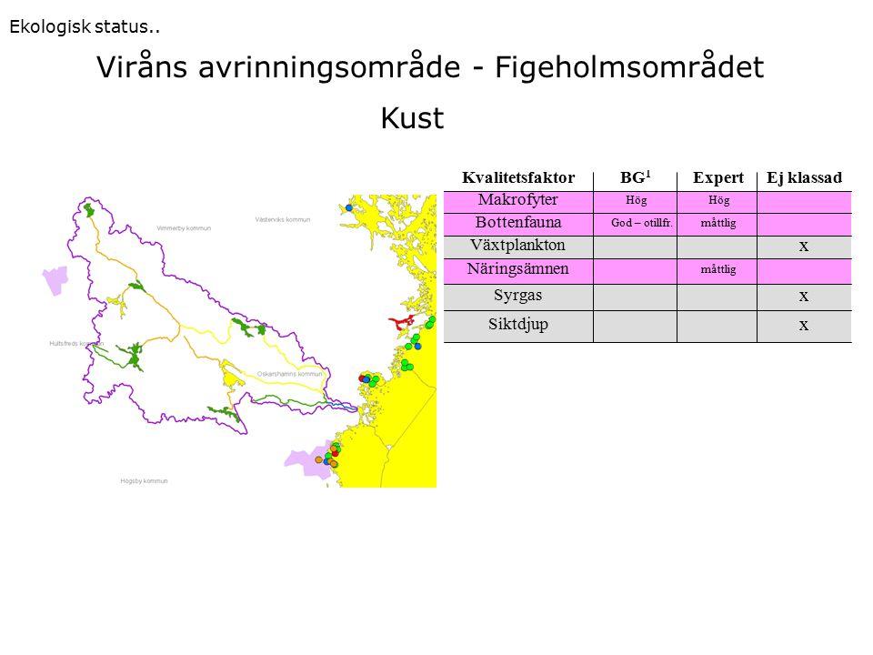 Viråns avrinningsområde - Figeholmsområdet Ekologisk status..
