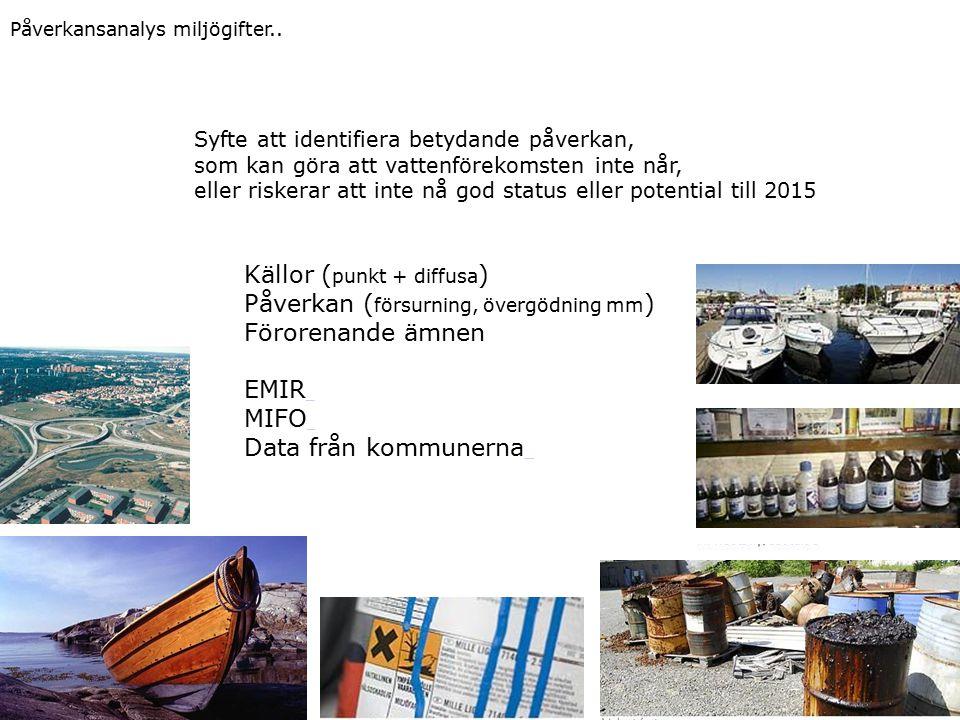 Syfte att identifiera betydande påverkan, som kan göra att vattenförekomsten inte når, eller riskerar att inte nå god status eller potential till 2015 Källor ( punkt + diffusa ) Påverkan ( försurning, övergödning mm ) Förorenande ämnen EMIR MIFO Data från kommunerna Påverkansanalys miljögifter..