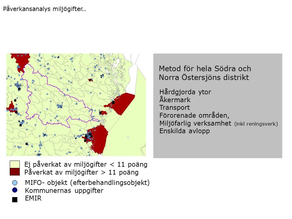 Ej påverkat av miljögifter < 11 poäng Påverkat av miljögifter > 11 poäng MIFO- objekt (efterbehandlingsobjekt) Kommunernas uppgifter EMIR Metod för hela Södra och Norra Östersjöns distrikt Hårdgjorda ytor Åkermark Transport Förorenade områden, Miljöfarlig verksamhet (inkl reningsverk) Enskilda avlopp