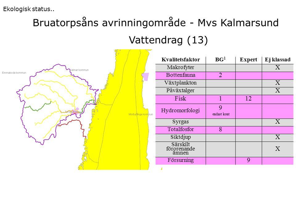 Bruatorpsåns avrinningområde - Mvs Kalmarsund Ekologisk status.. KvalitetsfaktorBG 1 ExpertEj klassad Makrofyter X Bottenfauna 2 Växtplankton X Påväxt