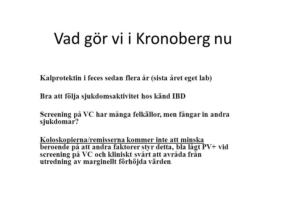 Vad gör vi i Kronoberg nu Kalprotektin i feces sedan flera år (sista året eget lab) Bra att följa sjukdomsaktivitet hos känd IBD Screening på VC har många felkällor, men fångar in andra sjukdomar.