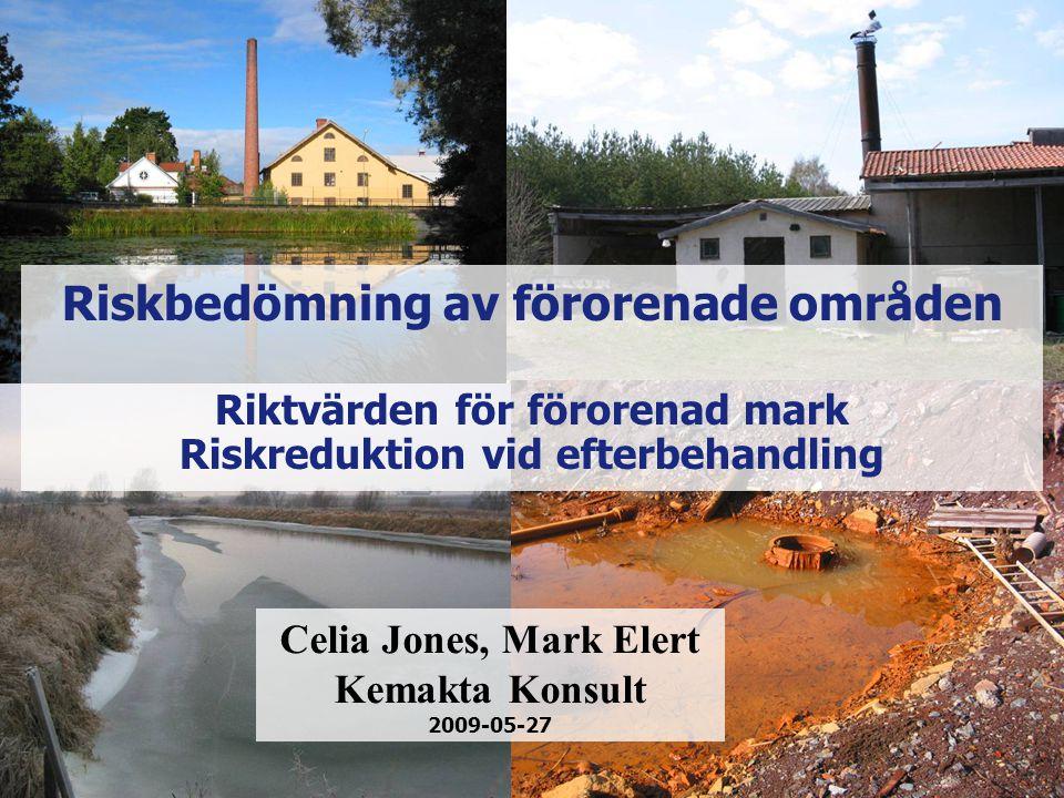 Riskbedömning av förorenade områden Riktvärden för förorenad mark Riskreduktion vid efterbehandling Celia Jones, Mark Elert Kemakta Konsult 2009-05-27