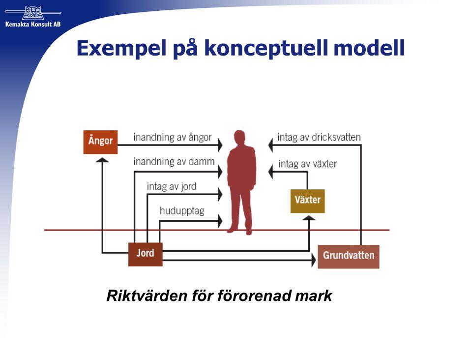 Exempel på konceptuell modell Riktvärden för förorenad mark