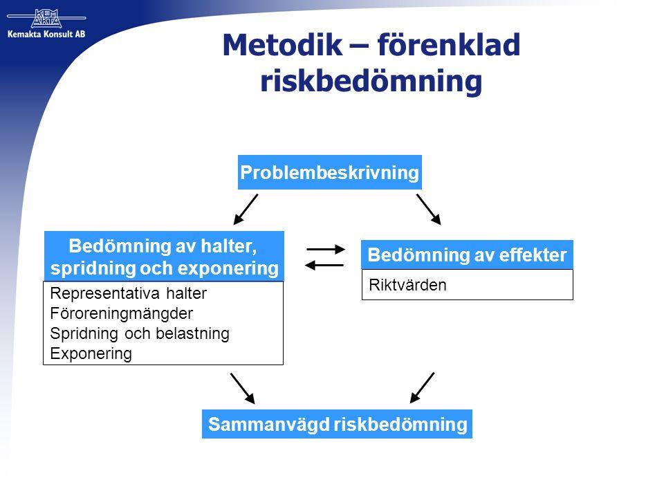 Metodik – förenklad riskbedömning Problembeskrivning Bedömning av halter, spridning och exponering Bedömning av effekter Sammanvägd riskbedömning Repr