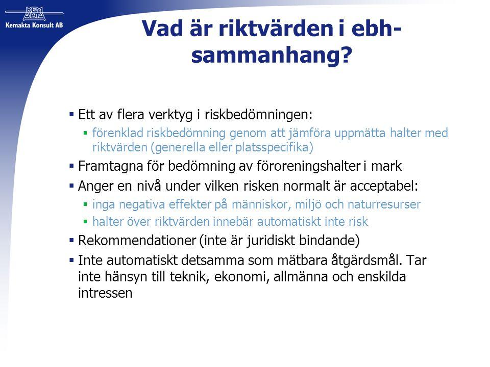 Vad är riktvärden i ebh- sammanhang?  Ett av flera verktyg i riskbedömningen:  förenklad riskbedömning genom att jämföra uppmätta halter med riktvär