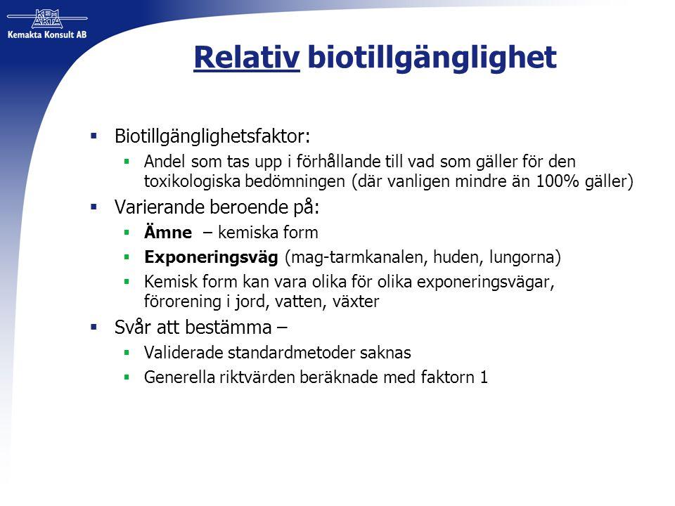 Relativ biotillgänglighet  Biotillgänglighetsfaktor:  Andel som tas upp i förhållande till vad som gäller för den toxikologiska bedömningen (där van