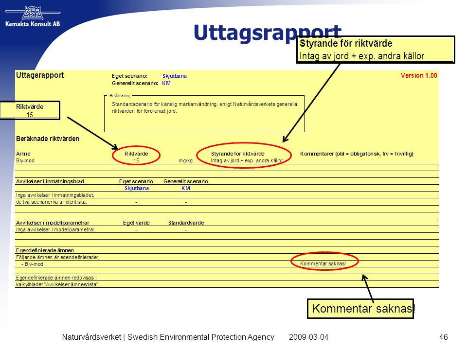 Uttagsrapport 2009-03-04 Naturvårdsverket | Swedish Environmental Protection Agency 46 Kommentar saknas!